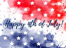 Happy 4th of July watercolor splashes background. Happy 4th of July! Abstract background with watercolor splashes in flag colors for USA Independence day holiday Royalty Free Stock Photography