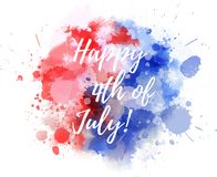 Happy 4th of July watercolor splashes background. Happy 4th of July! Abstract background with watercolor splashes in flag colors for USA Independence day holiday stock illustration