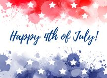 Happy 4th of July watercolor splashes background. Happy 4th of July! Abstract background with watercolor splashes in flag colors for USA Independence day holiday Royalty Free Stock Photo