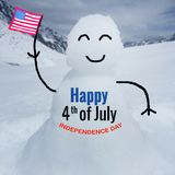 Happy 4th of July Word background. Word ` Happy 4th of July Independence day` on blurred snowman with flag background Stock Photos