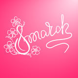 Happy 8th of March lettering, the international women`s day lettering. Royalty Free Stock Photo