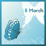 Happy 8th Of March. Template greeting card butterfly. Ecard is decorated with white plants with swirls. Stock Photography