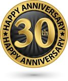 Happy 30th years anniversary gold label, vector. Illustration Royalty Free Stock Images