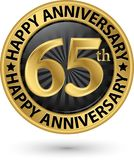 Happy 65th years anniversary gold label, vector. Illustration Royalty Free Stock Photos