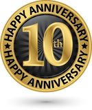 Happy 10th years anniversary gold label, vector. Illustration Royalty Free Illustration
