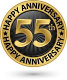 Happy 55th years anniversary gold label, vector. Illustration Royalty Free Stock Image