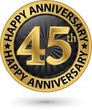Happy 45th years anniversary gold label, vector. Illustration stock illustration