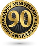 Happy 90th years anniversary gold label, vector. Illustration Stock Photo