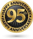 Happy 95th years anniversary gold label, vector illustration. Happy 95th years anniversary gold label, vector royalty free illustration