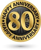 Happy 80th years anniversary gold label, vector. Illustration royalty free illustration