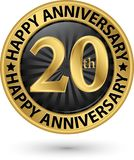 Happy 20th years anniversary gold label, vector illustration. Happy 20th years anniversary gold label, vector Royalty Free Stock Photography