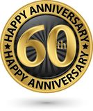 Happy 60th years anniversary gold label, vector. Illustration Stock Photography