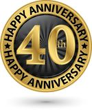 Happy 40th years anniversary gold label, vector. Illustration Royalty Free Stock Photography