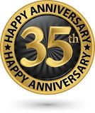 Happy 35th years anniversary gold label, vector. Illustration Stock Image