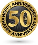 Happy 50th years anniversary gold label, vector. Illustration royalty free illustration