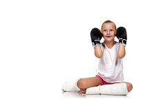 Happy thai boxing girl Stock Photo