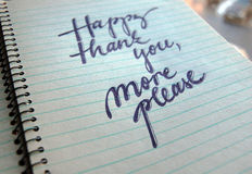 Happy Thank You More Please calligraphic background Stock Photos