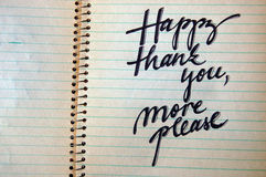 Happy Thank You More Please calligraphic background Stock Images