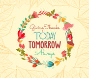 Happy thankgiving with leaves and flower greeting card Royalty Free Stock Photo