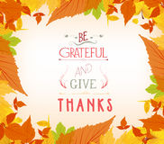 Happy thankgiving with leaves greeting card Royalty Free Stock Photography
