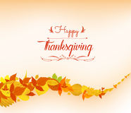 Happy thankgiving with leaves greeting card Stock Photography
