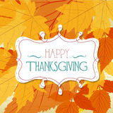 happy thankgiving with leaves greeting card Stock Photos