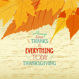 Happy thankgiving with leaves greeting card Stock Photo