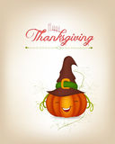 Happy thankgiving with pumpkin greeting card Stock Images
