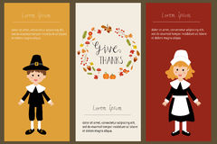 Happy Thanks giving banner with pilgrim  costume children vector. Illustration EPS10 Stock Images