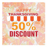 Happy thanks giving day sale or discount banner Royalty Free Stock Images
