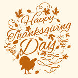 Happy thanks giving day2. Happy Thanksgiving day. Vector greeting card. Turkey. Vector illustration Stock Photos