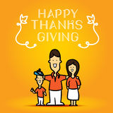 Happy Thanks Giving with family cute cartoon on orange backgroun Stock Photography