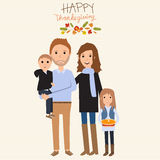 Happy Thanks giving family with father mother son daughter  Royalty Free Stock Photo