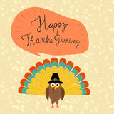 Happy Thanks giving with hand lettering fonts vector. illustrati. On EPS10 Stock Image