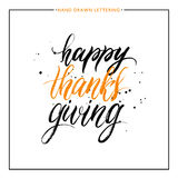Happy Thanks Giving lettering with black splashes. Isolated on white background, grunge hand painted letter, vector thanksgiving text for greeting card, poster Royalty Free Stock Photos