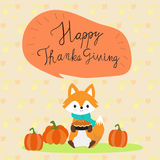 Happy Thanks giving with little fox hand lettering fonts vector. Illustration EPS10 Stock Image