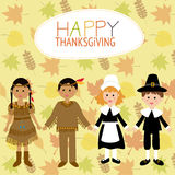 Happy Thanks giving with pilgrim  and red indian costume childre Royalty Free Stock Photos
