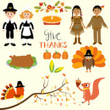 Happy Thanks giving with pilgrim  and red indian costume childre Stock Photography