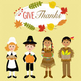 Happy Thanks giving with pilgrim  and red indian costume. Children vector. illustration EPS10 Royalty Free Stock Image