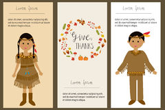 Happy Thanks giving with red indian costume children vector. ill vector illustration