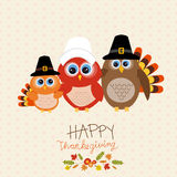 Happy Thanks giving vector owls family. Royalty Free Stock Image