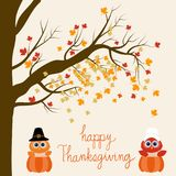 Happy Thanks giving vector owls pilgrims in the pumpkins hand le. Rttering fonts. illustration EPS10 Royalty Free Stock Images