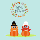 Happy Thanks giving vector owls pilgrims in the pumpkins hand le. Rttering fonts. illustration EPS10 Royalty Free Stock Photo