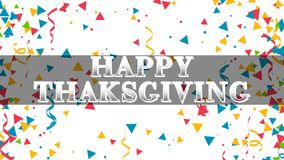 Happy Thanks Giving 001 - White Background - Colorful. Confetti stock illustration