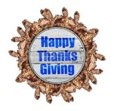 Happy thanks giving on wooden autumn circle made from brown tree leaves Stock Images