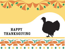 Happy Thanksgiving. Happy Thanksgiving with turkey and floral decoration Stock Image