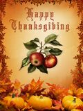Happy Thanksgiving. Card with vegetable and leafs Stock Photography