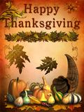 Happy Thanksgiving. Card with vegetable and leafs Royalty Free Stock Photo