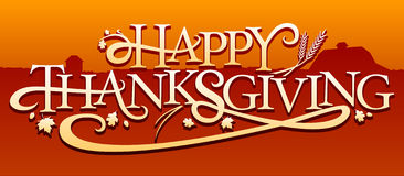Happy Thanksgiving. Some illustrative text with shadow, celebrating Thanksgiving