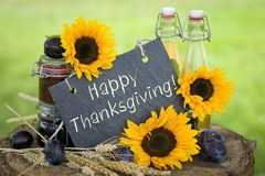Happy Thanksgiving!. Chalkboard with text: Happy Thanksgiving Stock Photo